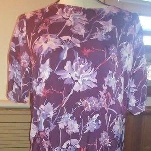 Who What Wear Royal Floral Asymmetrical Dress L